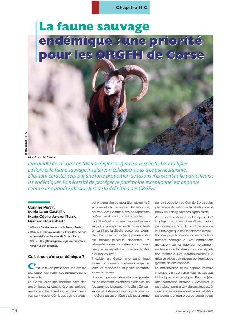 Chapitre II-C                                   La faune sauvage                                   endémique : une priorit...