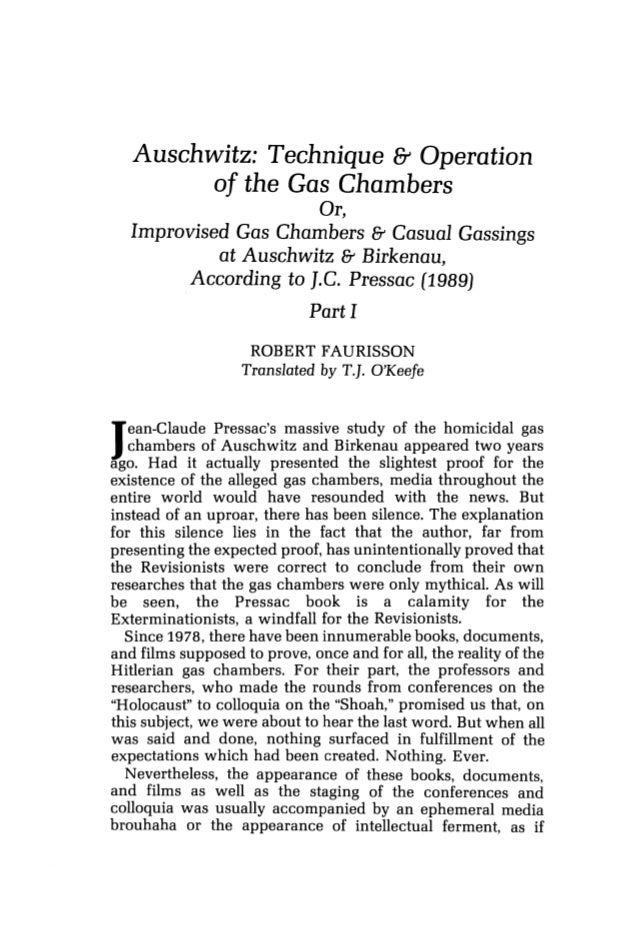 Faurisson, robert   pressac, jean-claude. auschwitz technique and operation of the gas chambers  - journal of historical review volume 11 no 1