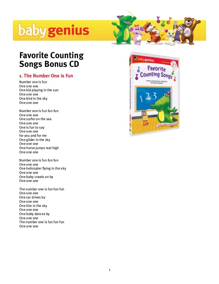 Favorite CountingSongs Bonus CD1. The Number One is FunNumber one is funOne one oneOne kid playing in the sunOne one oneOn...