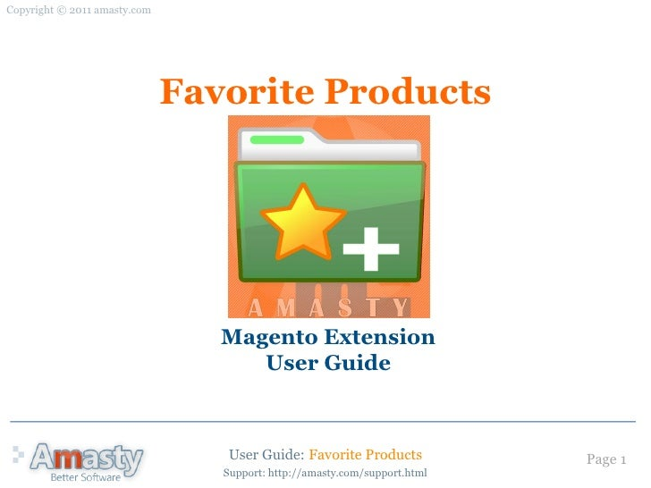 User Guide for Favorite Products Magento extension by Amasty