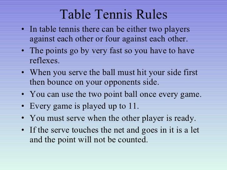 Favorite sports for Table tennis serving rules