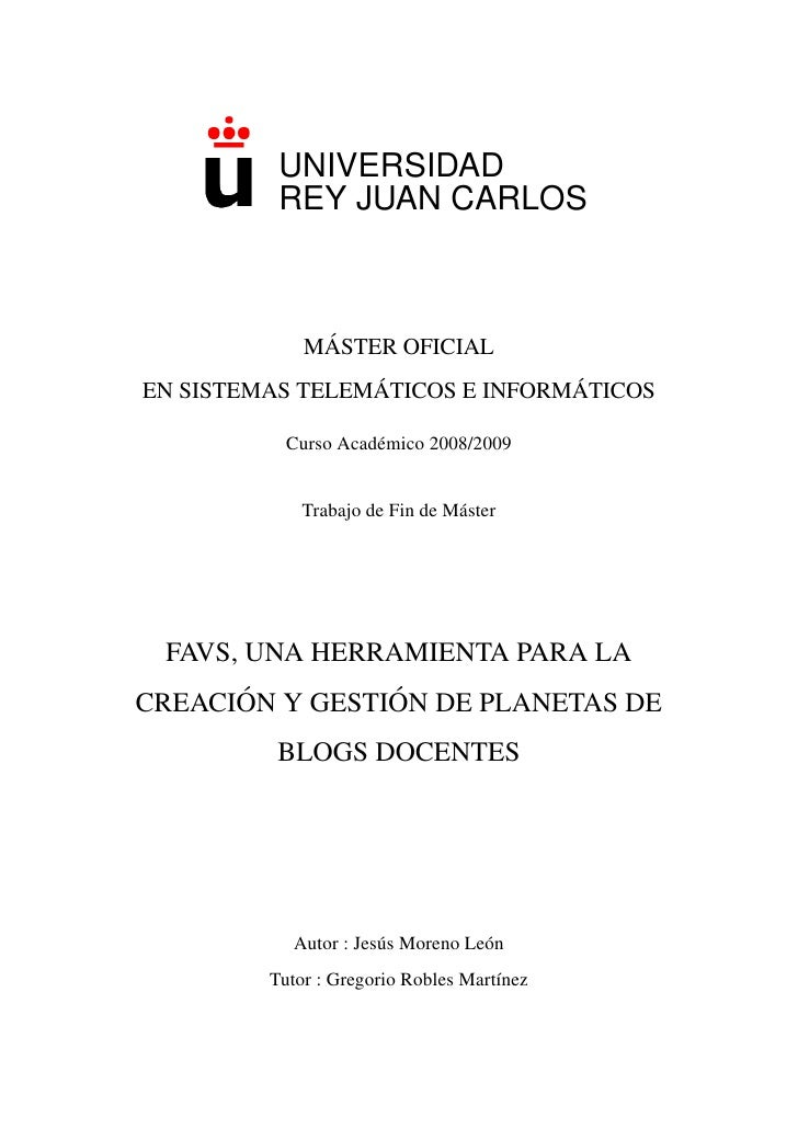 UNIVERSIDAD           REY JUAN CARLOS                  ´              MASTER OFICIAL                  ´              ´ EN ...