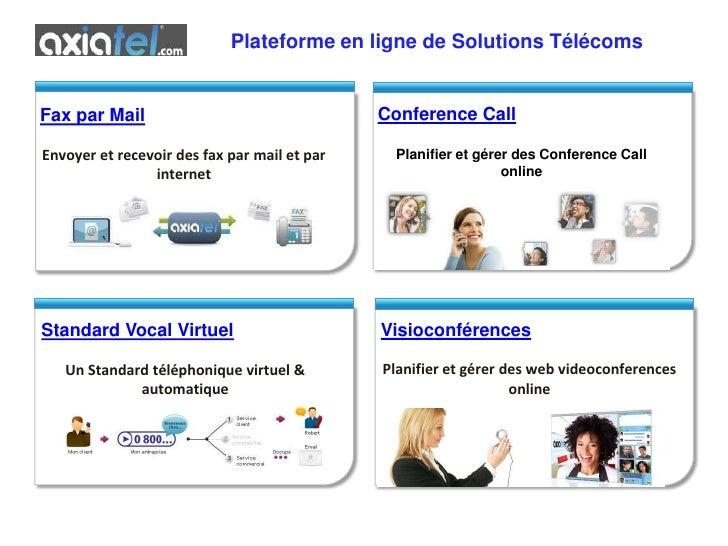 Plateforme en ligne de Solutions Télécoms<br />Conference Call<br />Planifier et gérer des Conference Call online<br />Fax...