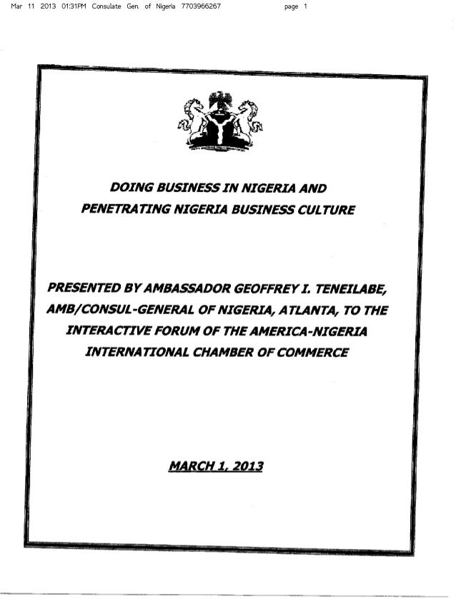 Doing Business in Nigeria and Penetrating Nigeria Business Culture