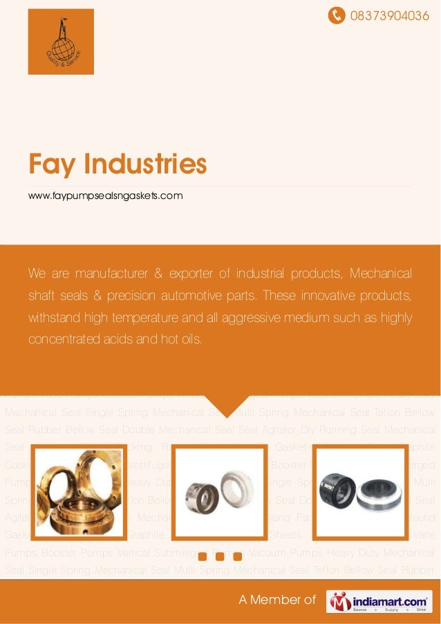 08373904036A Member ofFay Industrieswww.faypumpsealsngaskets.comHeavy Duty Mechanical Seal Single Spring Mechanical Seal M...