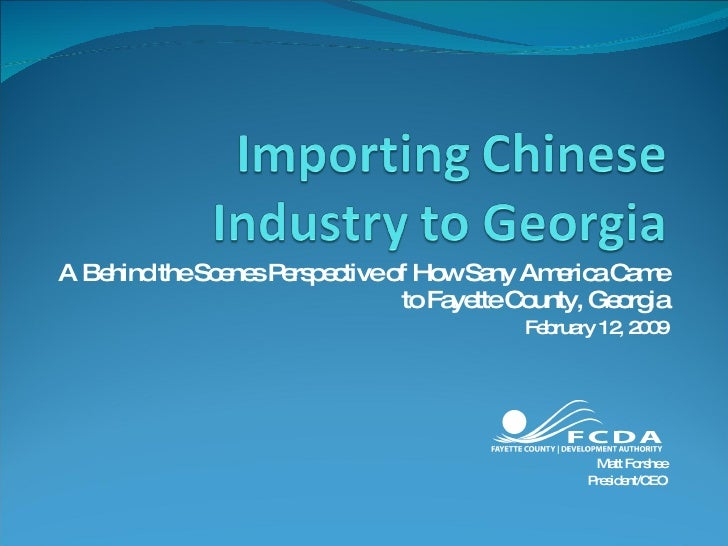 Importing Chinese Industry to Georgia