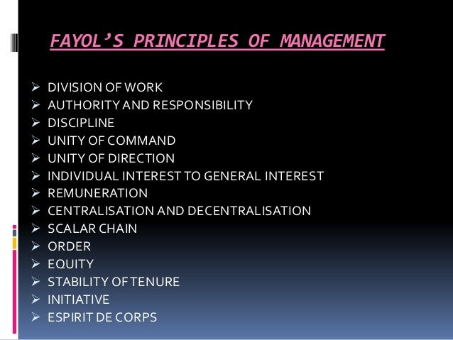 fayols 14 principles Henri fayol was born in istanbul in 1841 when he was 19, he worked as an engineer at a large mining company in france he eventually became the director, at a time when the mining company employed more than 1,000 people and through the years, fayol began to develop what he considered to be the 14 most important principles of management.