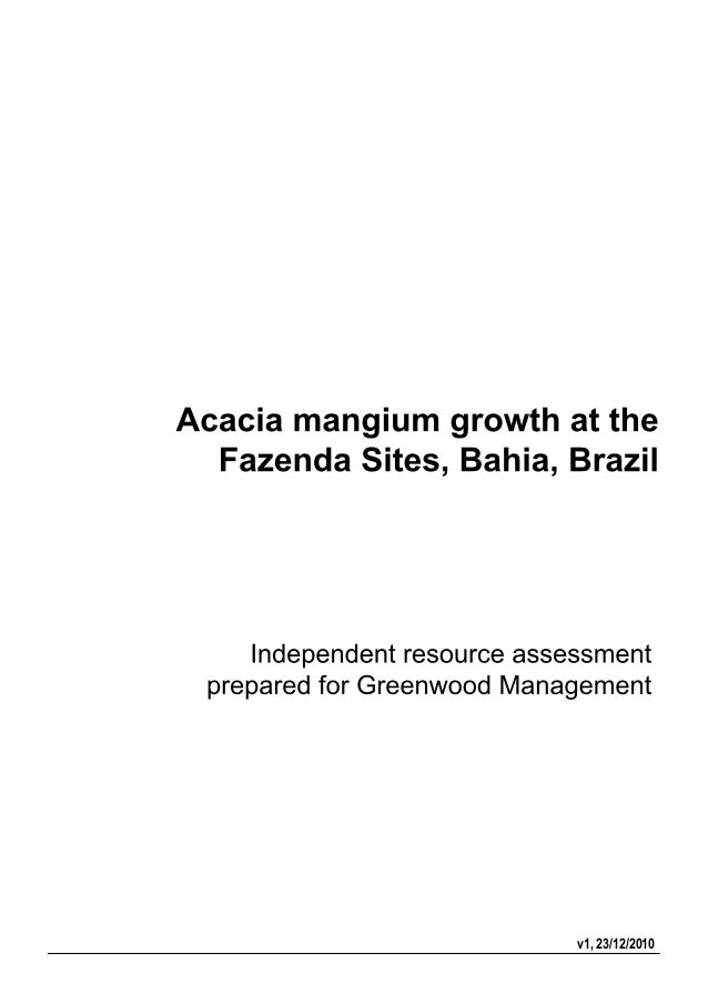 Greenwood Management forestry report Acacia crops