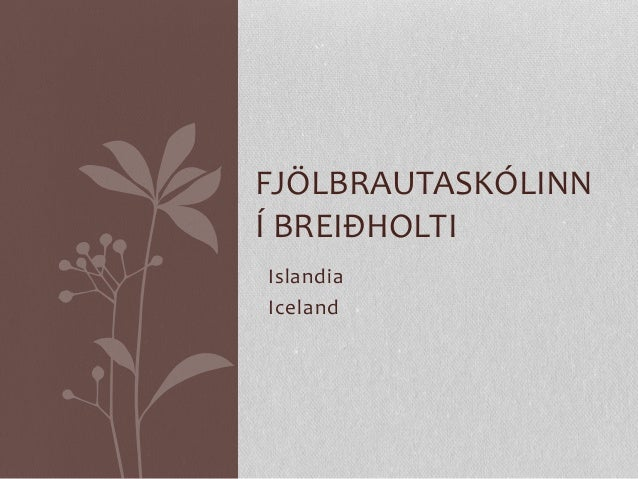 Islandia Iceland FJÖLBRAUTASKÓLINN Í BREIÐHOLTI