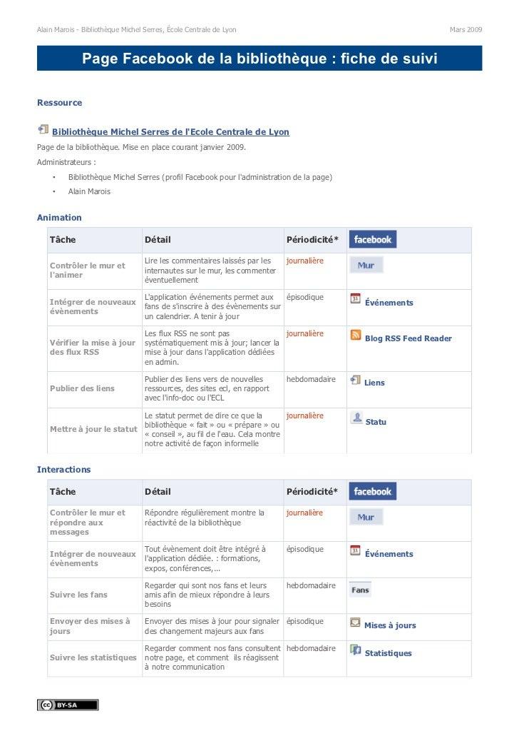 Fiche de gestion d'une page Facebook de bibliothèque (V1 2009)