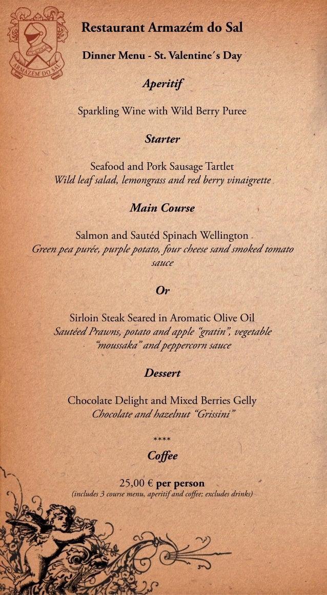 Dinner menu - St. Valentine's day