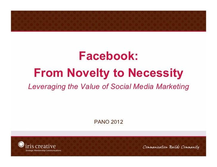 Facebook - form Novelty to Necessity