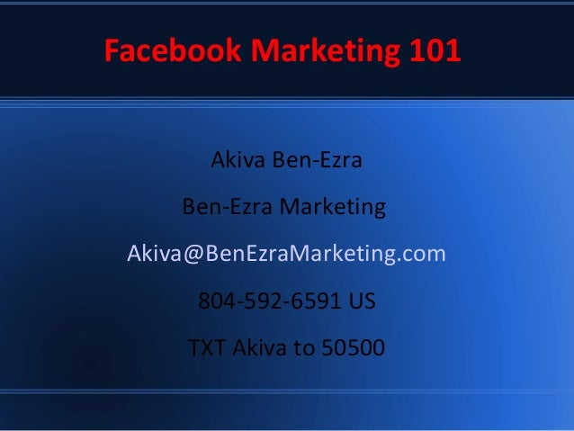 Facebook 101 Small Business IM Basic Training