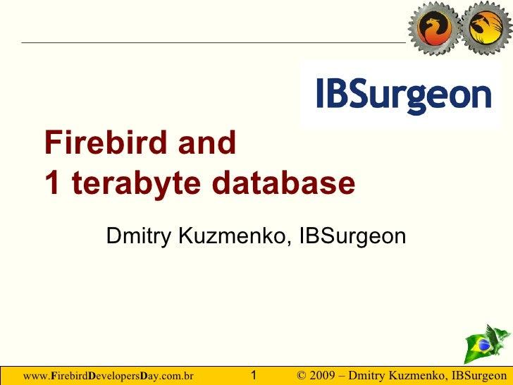 Firebird and 1 terabyte database Dmitry Kuzmenko, IBSurgeon