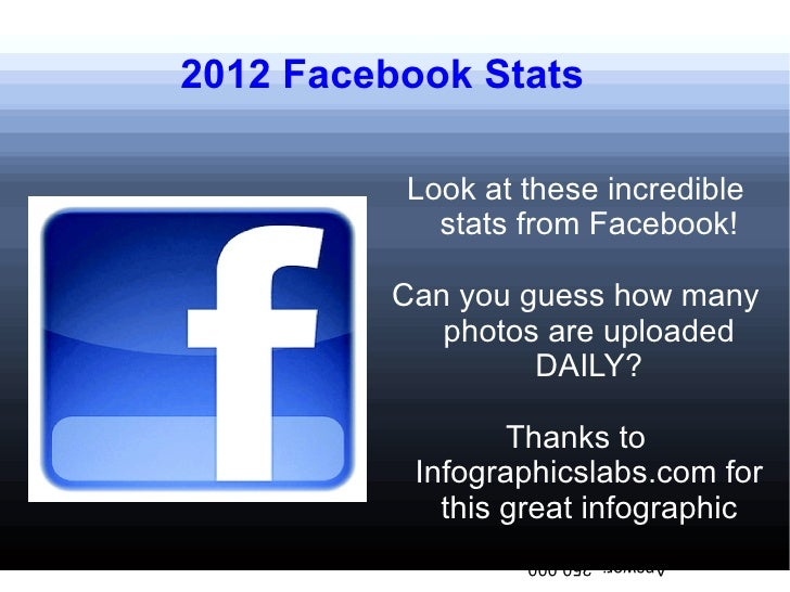 2012 Facebook Stats          Look at these incredible            stats from Facebook!         Can you guess how many      ...
