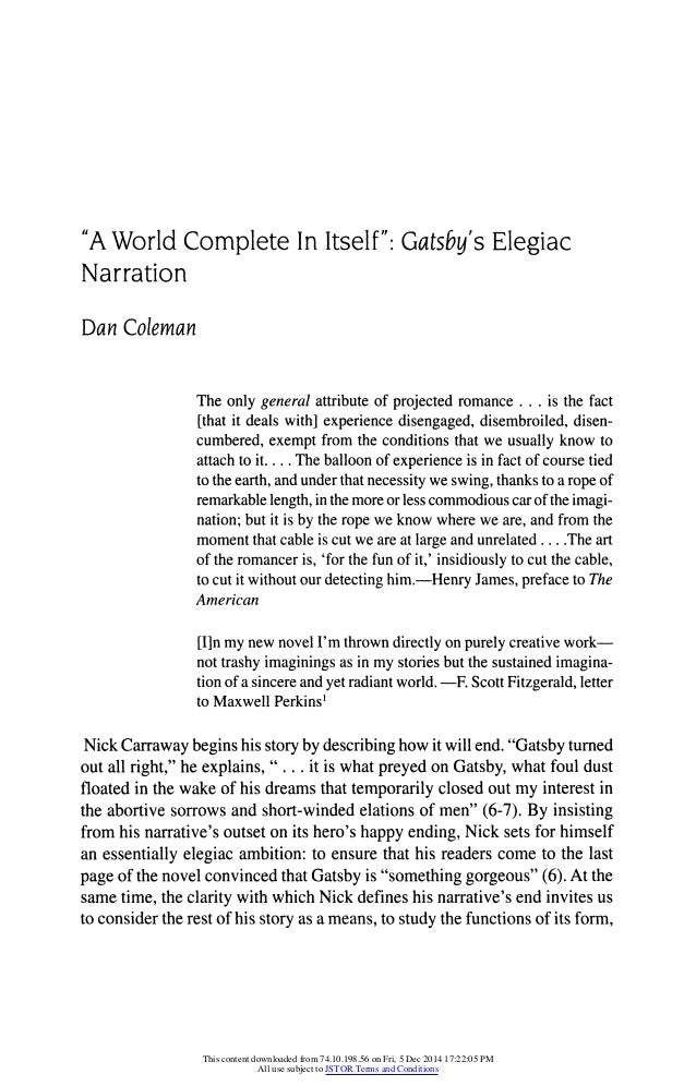 great gatsby analysis essay