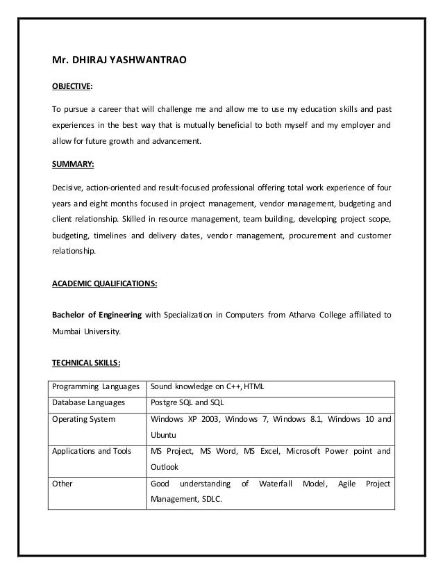 project management resume