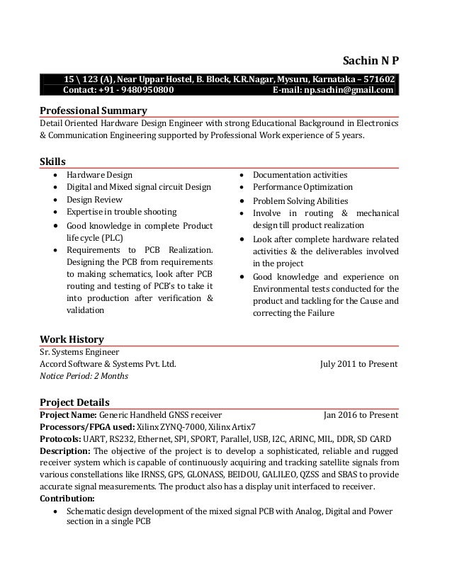 resume electronics design engineer