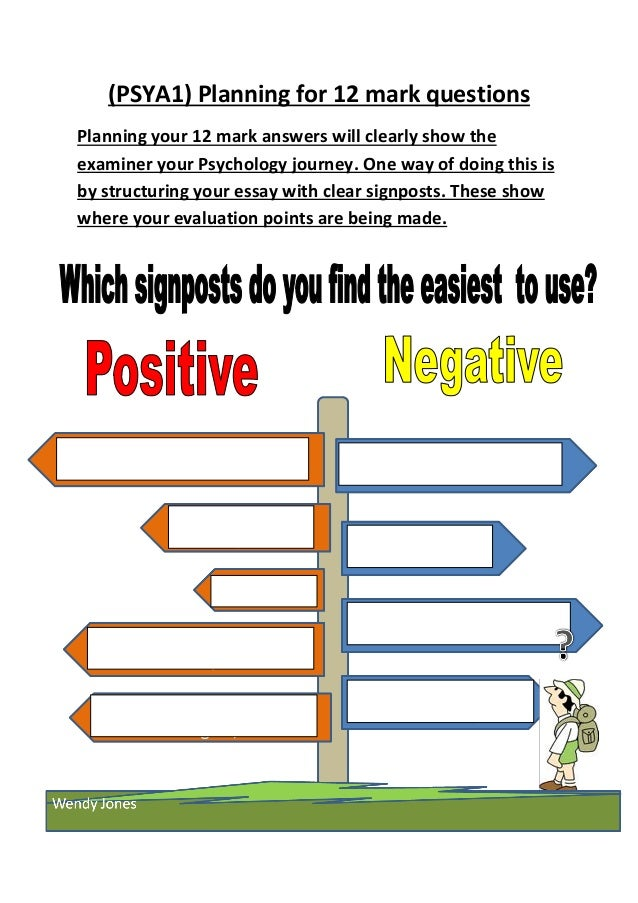 (PSYA1) Planning for 12 mark questions Planning your 12 mark answers will clearly show the examiner your Psychology journe...