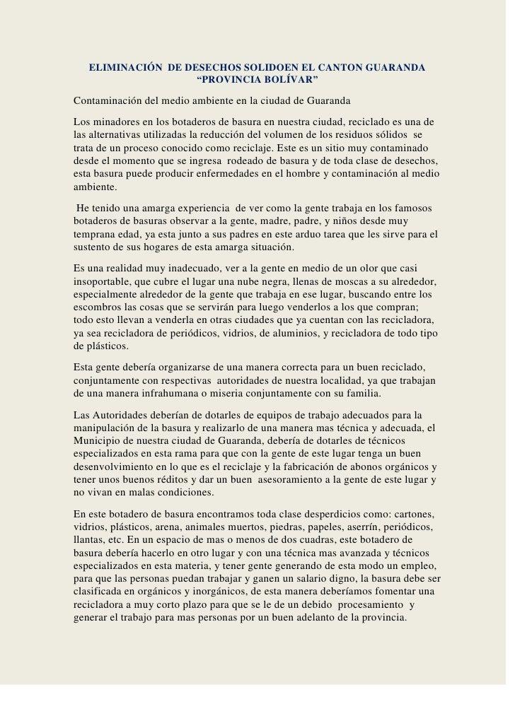 """ELIMINACIÓN  DE DESECHOS SOLIDOEN EL CANTON GUARANDA """"PROVINCIA BOLÍVAR""""<br />Contaminación del medio ambiente en la ciuda..."""