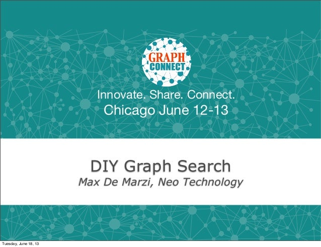 Innovate. Share. Connect.Chicago June 12-13DIY Graph SearchMax De Marzi, Neo TechnologyTuesday, June 18, 13