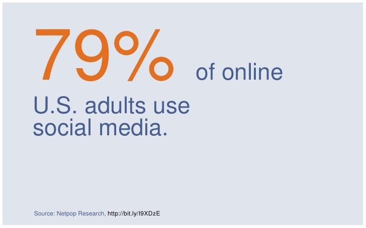 79%U.S. adults use                                                of onlinesocial media.Source: Netpop Research, http://bi...