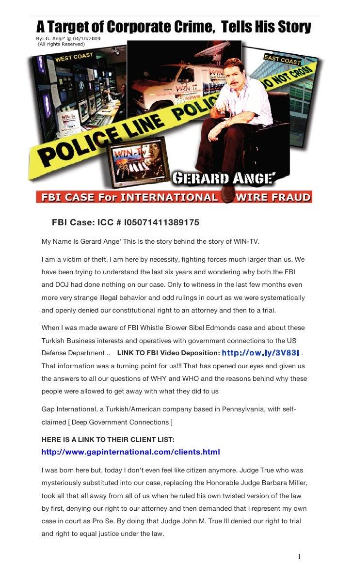 Fbi case gap international & win tv theft 2011