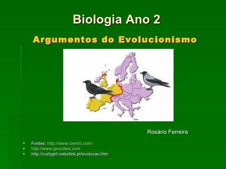 Argumentos do Evolucionismo <ul><li>Fontes:  http://www.cientic.com/ </li></ul><ul><li>http://www.geocities.com </li></ul>...