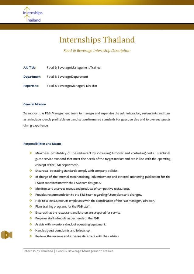 Internships Thailand   Food & Beverage Management TraineeInternships ThailandFood & Beverage Internship DescriptionJob Tit...