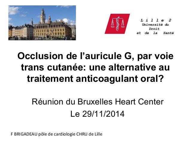 Occlusion de l'auricule G, par voie trans cutanée: une alternative au traitement anticoagulant oral? Réunion du Bruxelles ...