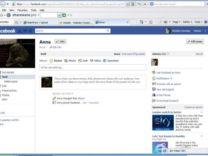 Method of advertising - Facebook page for Anna