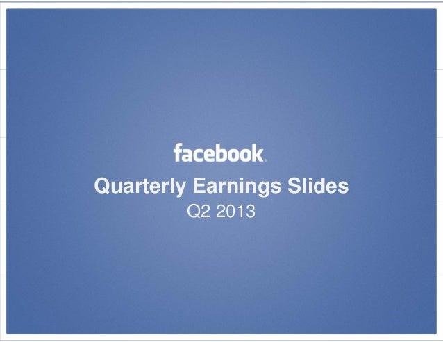 Facebook 2nd Quarterly Earnings 2013