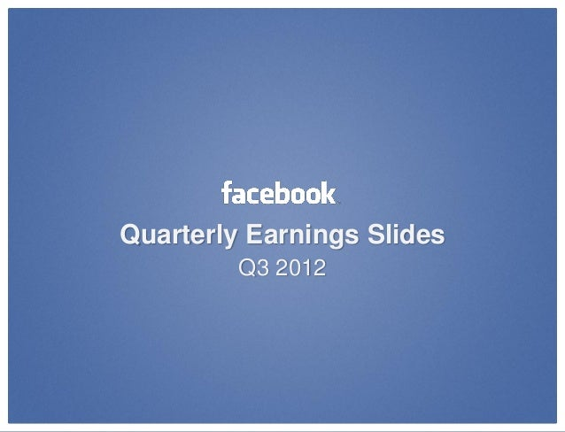 Facebook Third Quarter Revenue Report for 2012