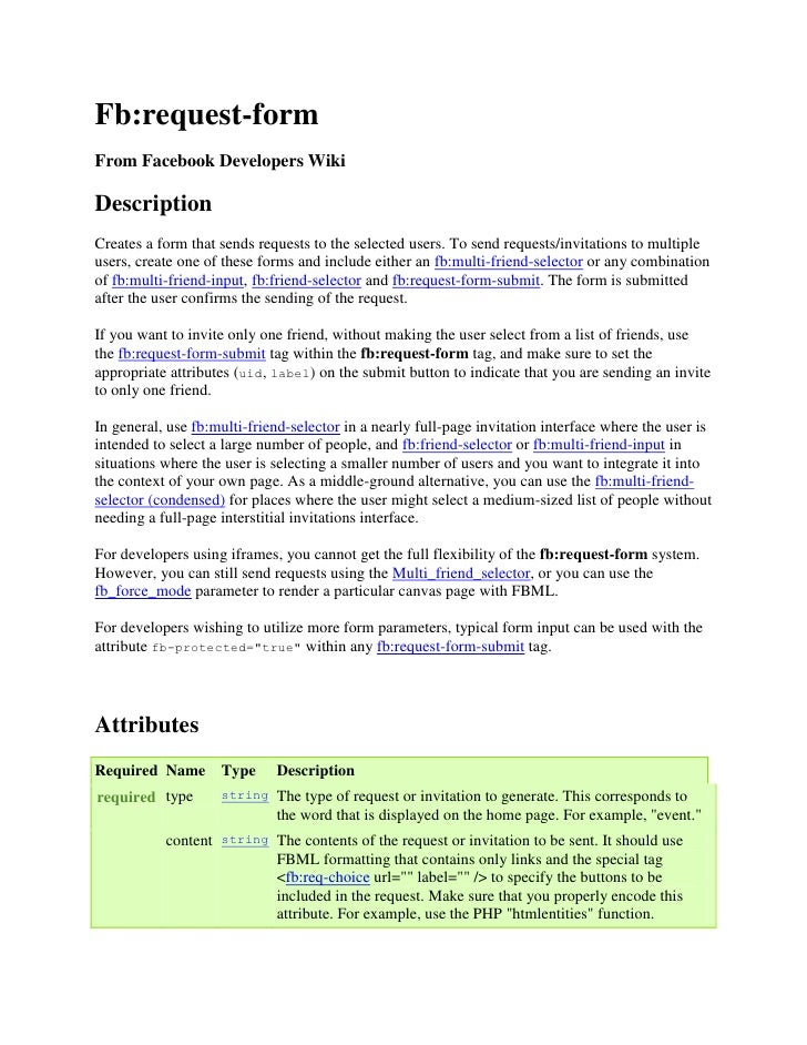 Fb:request-form From Facebook Developers Wiki  Description Creates a form that sends requests to the selected users. To se...
