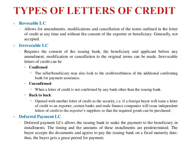 letters of credit essay Internation trade law: letter of credit submitted to dr parvez ahmed  12   .