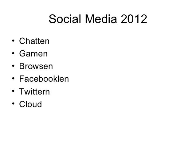Social Media 2012•   Chatten•   Gamen•   Browsen•   Facebooklen•   Twittern•   Cloud