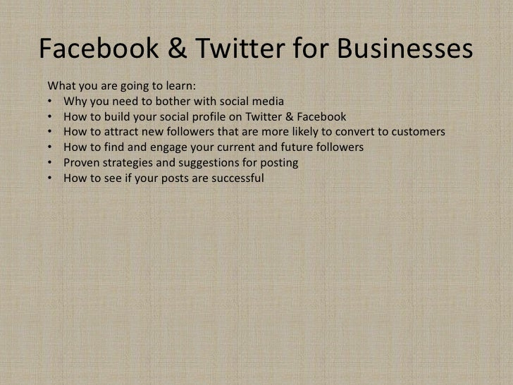 Facebook & Twitter for BusinessesWhat you are going to learn:• Why you need to bother with social media• How to build your...