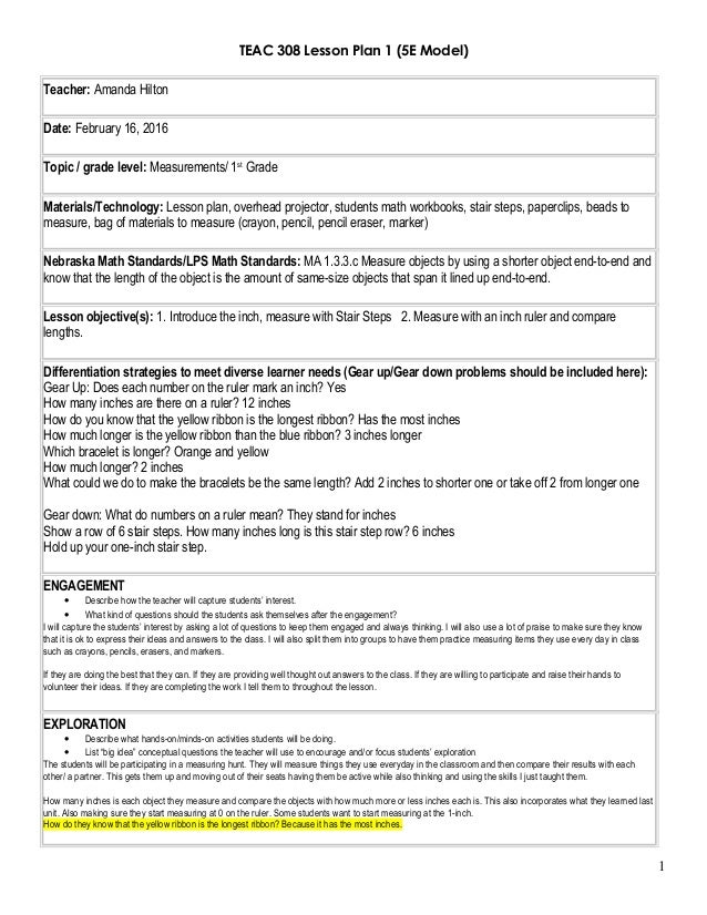 Math lesson plan 1 for 5 e model lesson plan template