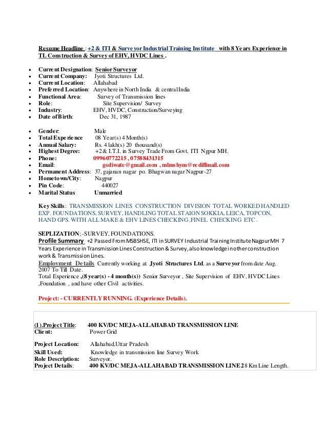 Resume mr ghanshyam diwate for Two years experience resume sample