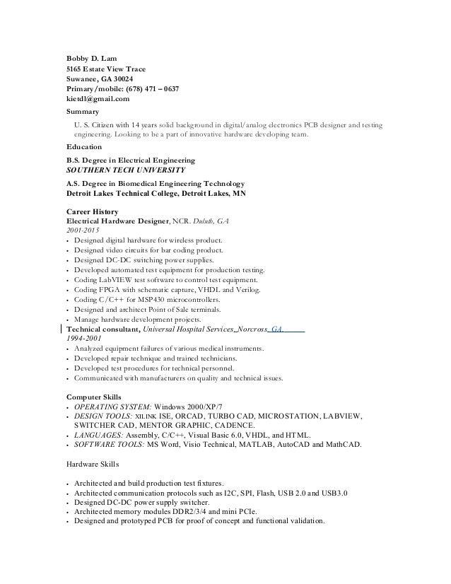 bobby lam resume hardware design engineer