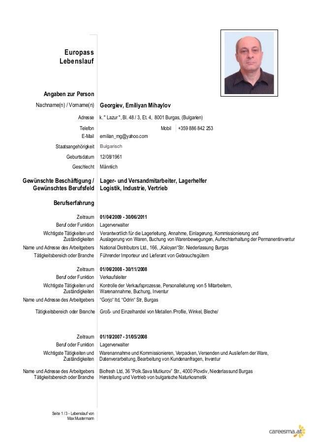 Seite 1 / 3 - Lebenslauf von Max Mustermann Europass Lebenslauf Angaben zur Person Nachname(n) / Vorname(n) Georgiev, Emil...