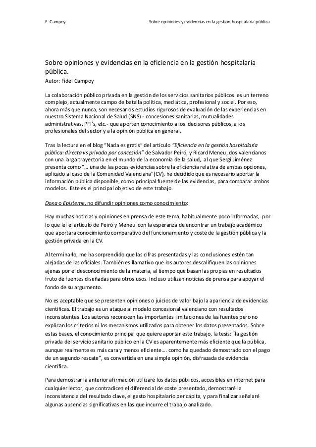 F. Campoy                                   Sobre opiniones y evidencias en la gestión hospitalaria públicaSobre opiniones...