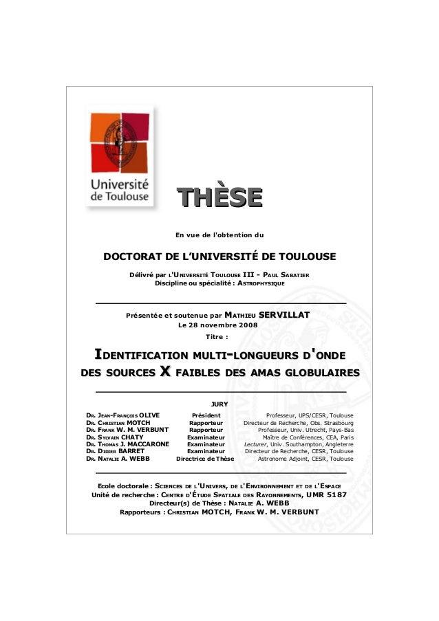 THÈSETHÈSE En vue de l'obtention du DOCTORAT DE L'UNIVERSITÉ DE TOULOUSEDOCTORAT DE L'UNIVERSITÉ DE TOULOUSE Délivré par L...