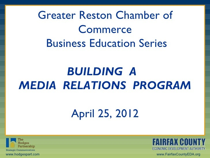 Greater Reston Chamber of Commerce Business Education Series: Building a Public Relations Program