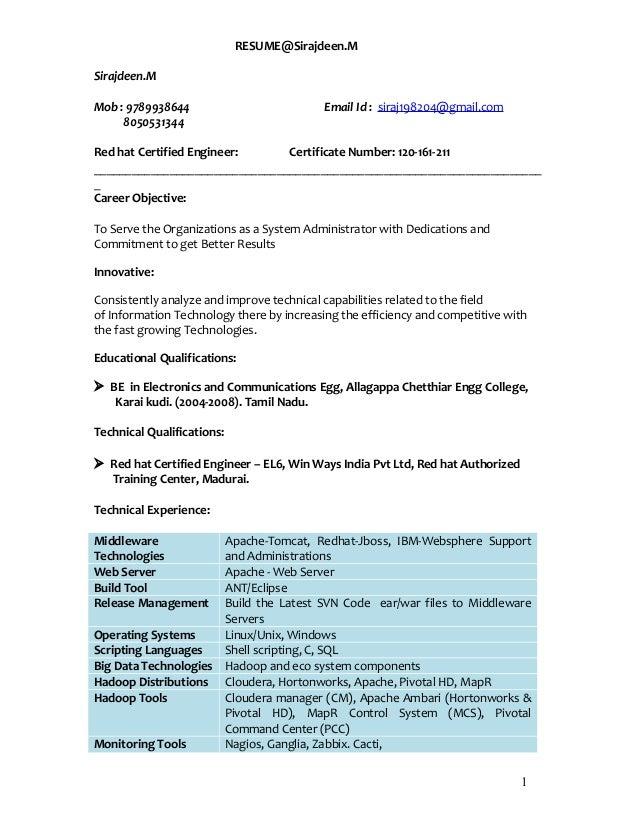 resume latest linux updated siraj