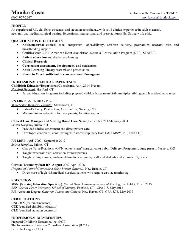 ld nurse resume example - Labor And Delivery Nurse Cover Letter