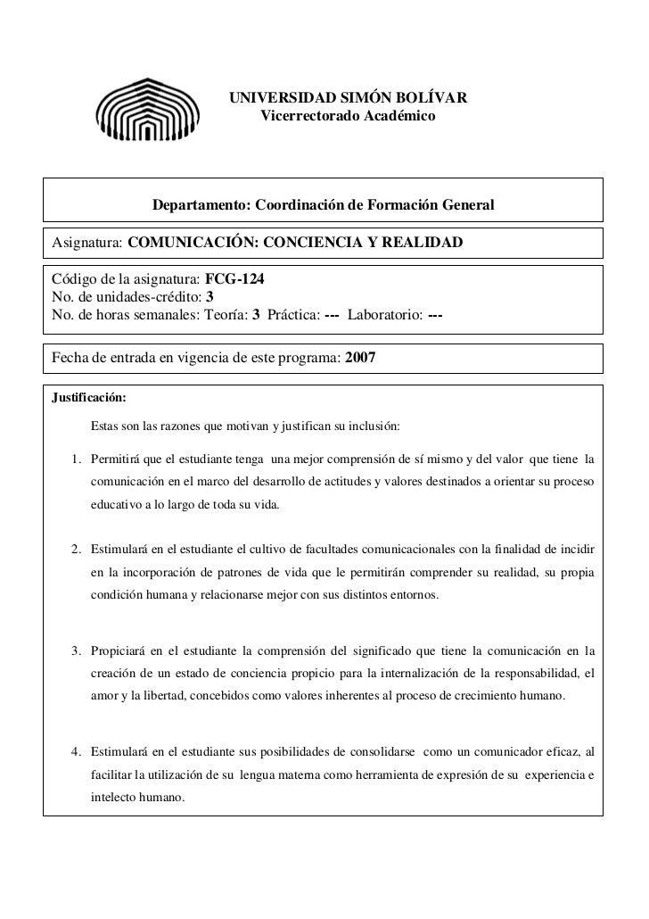 UNIVERSIDAD SIMÓN BOLÍVAR                                    Vicerrectorado Académico                  Departamento: Coord...
