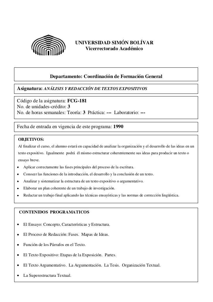 UNIVERSIDAD SIMÓN BOLÍVAR                                        Vicerrectorado Académico                    Departamento:...