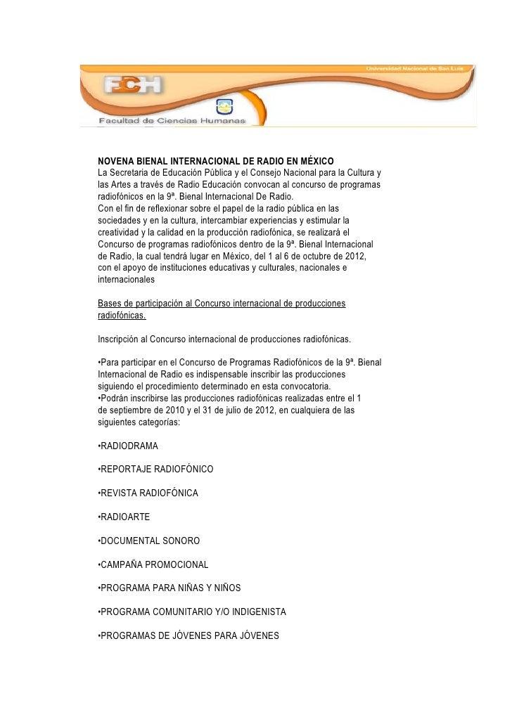 NOVENA BIENAL INTERNACIONAL DE RADIO EN MÉXICOLa Secretaria de Educación Pública y el Consejo Nacional para la Cultura yla...