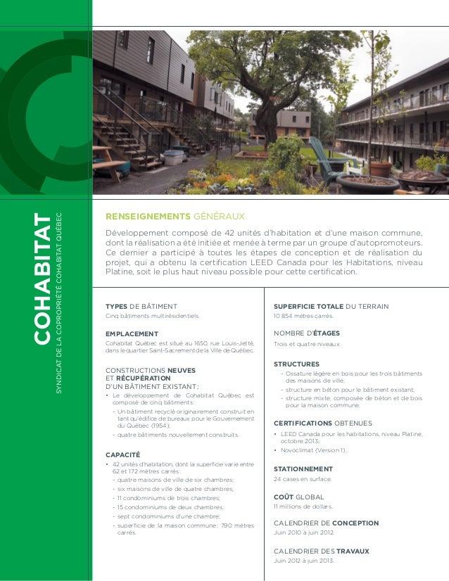 COHABITAT SyndicatdelacopropriétéCohabitatQuébec Types de bâtiment Cinq bâtiments multirésidentiels. Emplacement Cohabitat...